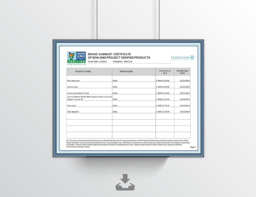 Brand Summary Certificate